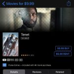 iTunes movies – Tenet $9.99