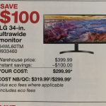 "[Costco.ca] LG 34"" Ultrawide Monitor – $300 – Feb 1-Feb 28 – Costco.ca"