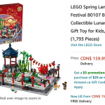Amazon Canada Deals: Get LEGO Spring Lantern Festival Building Kit for $159.99 | Canadian Freebies, Coupons, Deals, Bargains, Flyers, Contests Canada