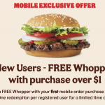 Burger King Canada Digital Coupons: Get FREE Whopper with Mobile Order, with $1 Minimum Purchase | Canadian Freebies, Coupons, Deals, Bargains, Flyers, Contests Canada